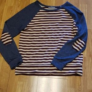 Loveappella striped baseball tee, elbow patches
